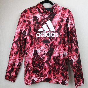 Adidas flame hoodie jacket youth XL red white